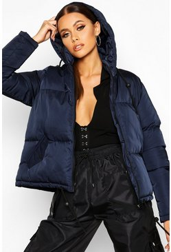 Womens Navy Hooded Padded Jacket