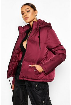 Berry Hooded Padded Jacket