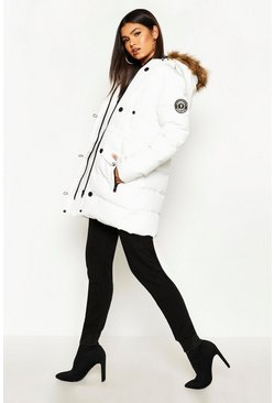 Womens White Luxe Mountaineering Parka