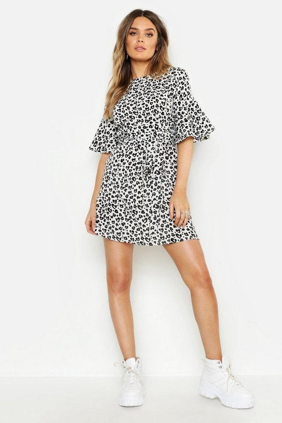 Monochrome Animal Wrap Belt Shift Dress