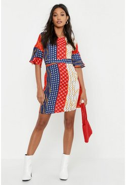 Womens Red Polka Dot Chain Print Wrap Around Shift Dress