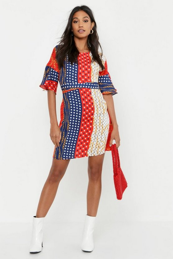 Polka Dot Chain Print Wrap Around Shift Dress
