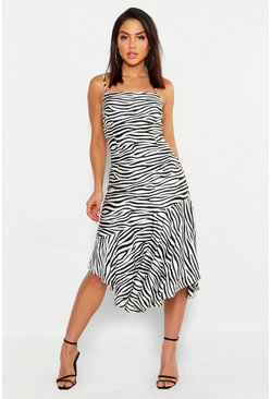 Womens White Zebra Satin Asymmetric Midi Slip Dress