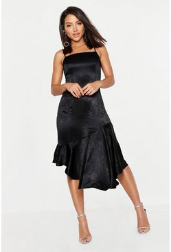 Womens Black Hammered Satin Asymmetric Midi Slip Dress