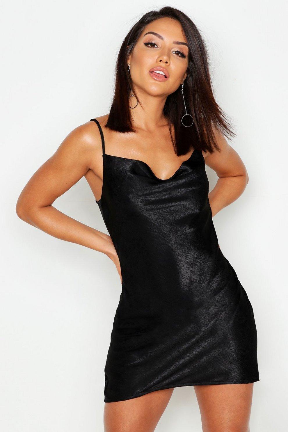 6d7a83f9a3cb Womens Black Cowl Neck Satin Slip Dress