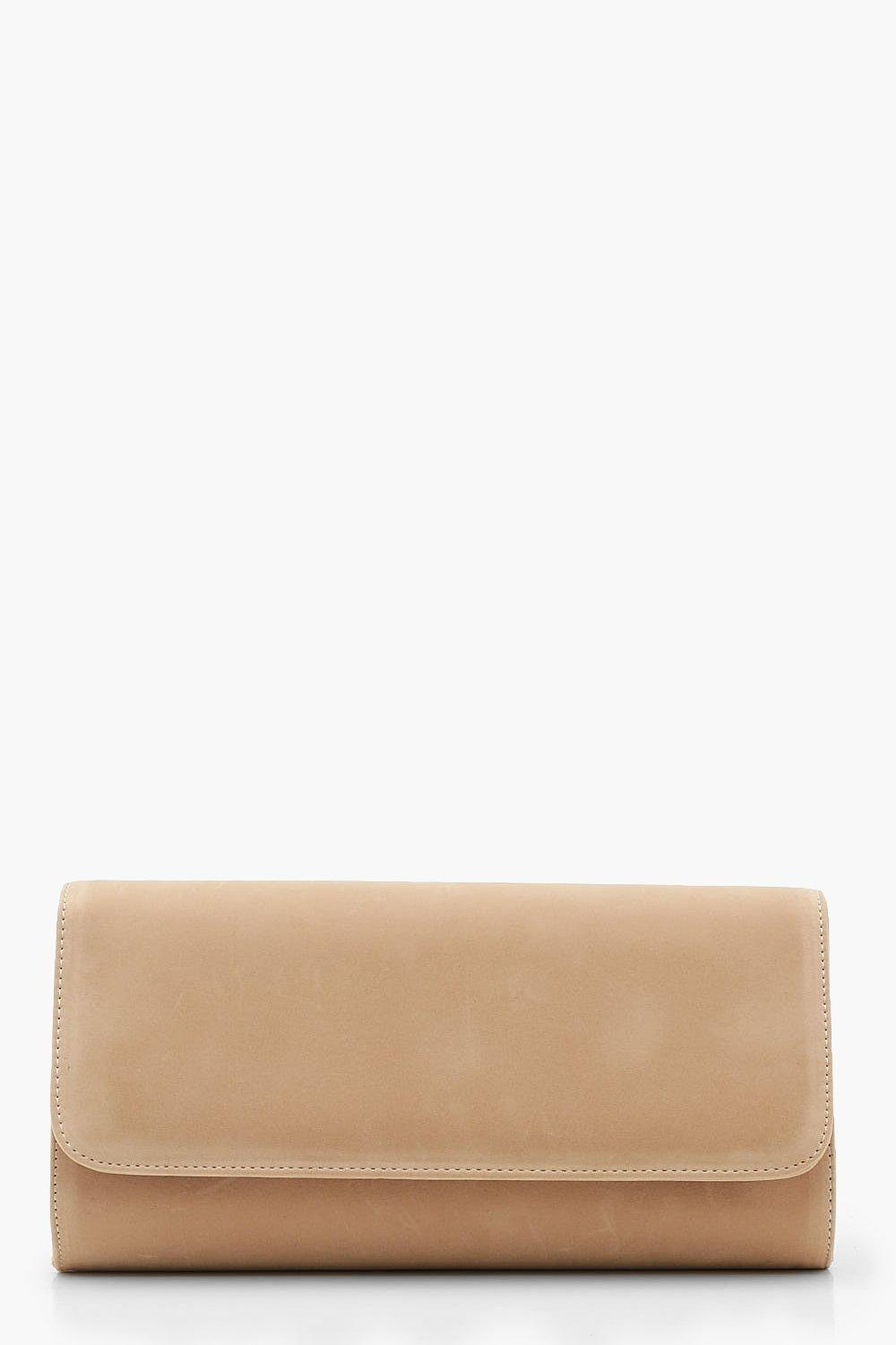 Suedette Structured Clutch With Chain