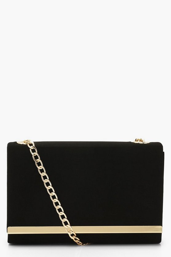 Black Structured Suedette Clutch Bag and Chain