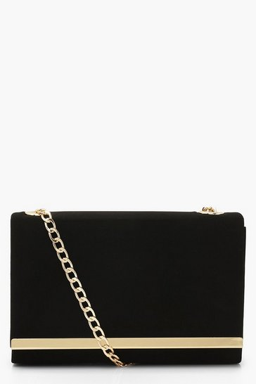 Womens Black Structured Suedette Clutch Bag and Chain