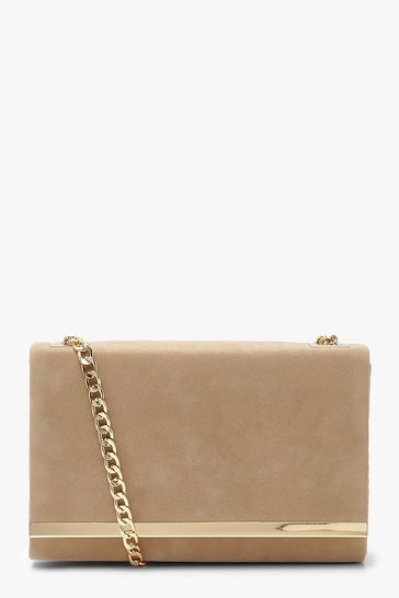 Womens Taupe Structured Suedette Clutch Bag and Chain