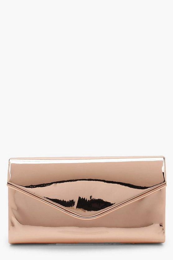 Shiny Piping Trim Envelope Clutch