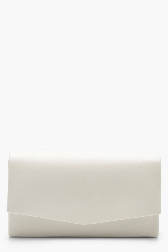 Womens White Structured PU Clutch and Chain