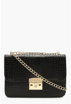 Womens Black Croc & Lock Cross Body Bag