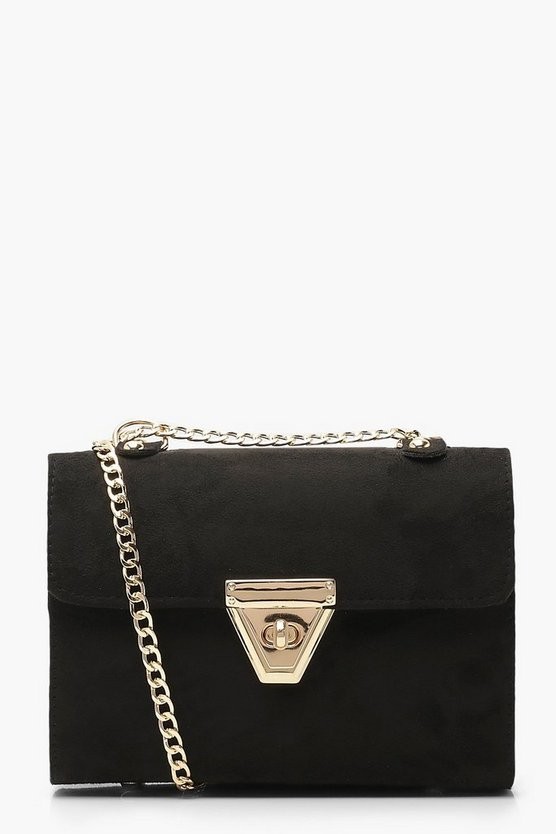 Womens Black Triangle Lock Chain Cross Body