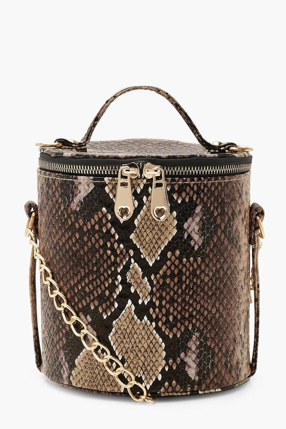 Faux Snake Cylinder Handle Cross Body Bag