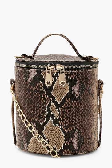 Womens Brown Faux Snake Cylinder Handle Cross Body Bag