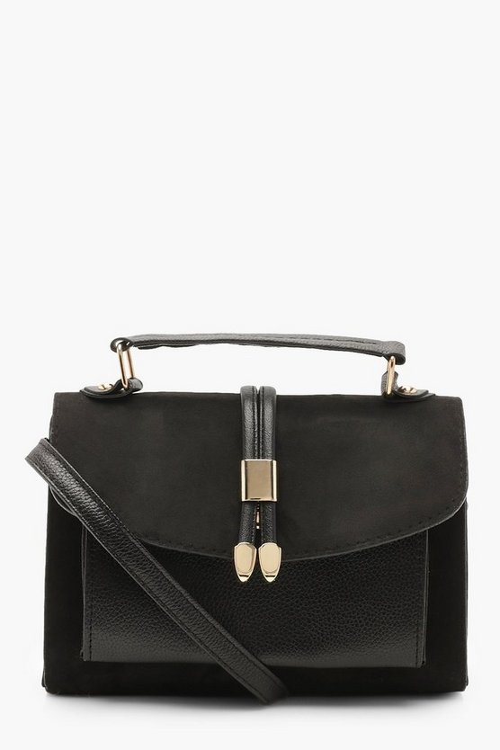 Black Suedette & PU Cross Body Bag