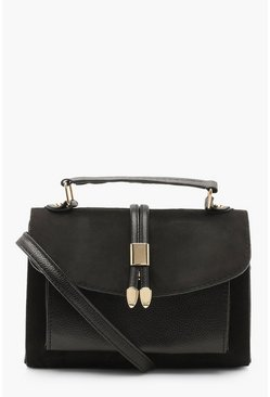Womens Black Suedette & PU Cross Body Bag