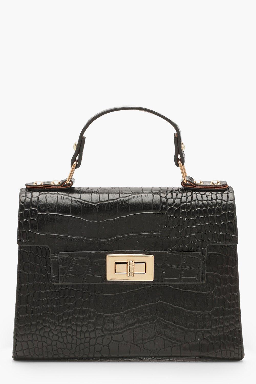 Faux Croc Small Tote Bag