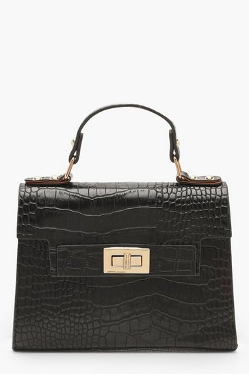 Womens Black Faux Croc Small Tote Bag