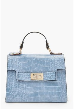 Womens Pale blue Faux Croc Small Tote Bag