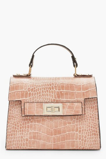 Womens Pale pink Faux Croc Small Tote Bag