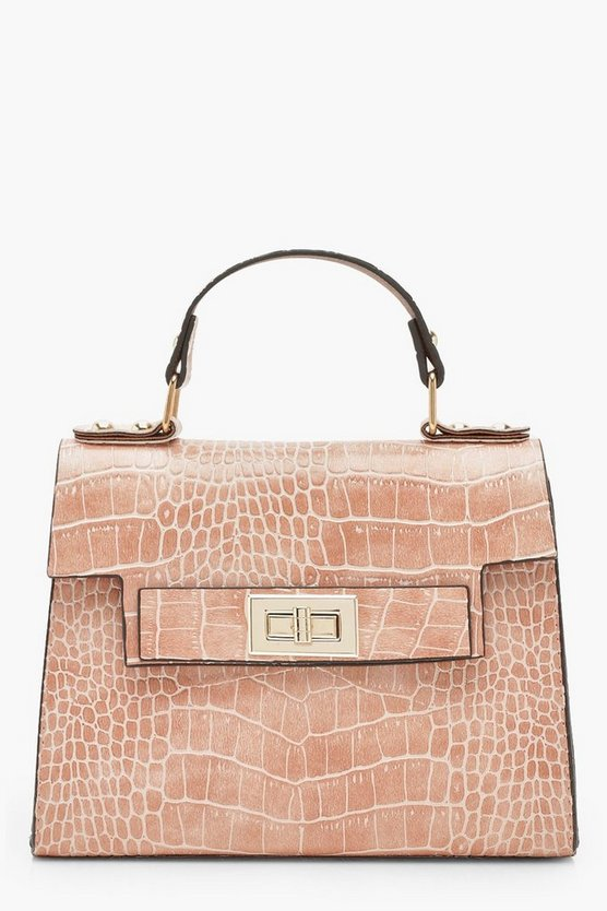 Faux Croc Small Tote Bag