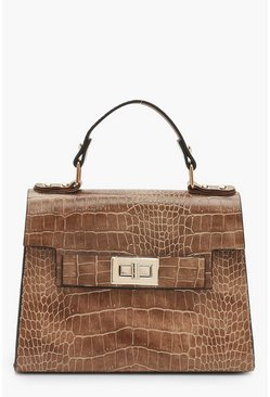 Taupe Faux Croc Small Tote Bag