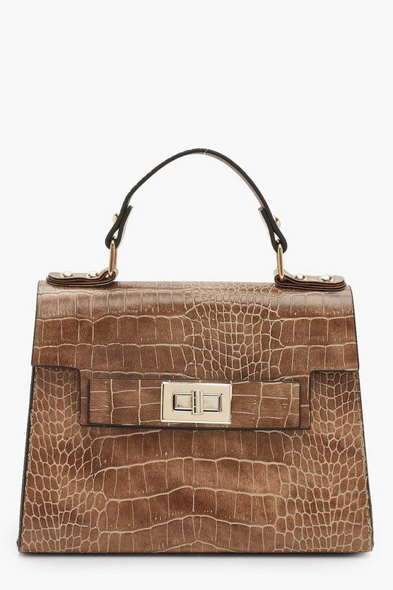 Womens Taupe Faux Croc Small Tote Bag