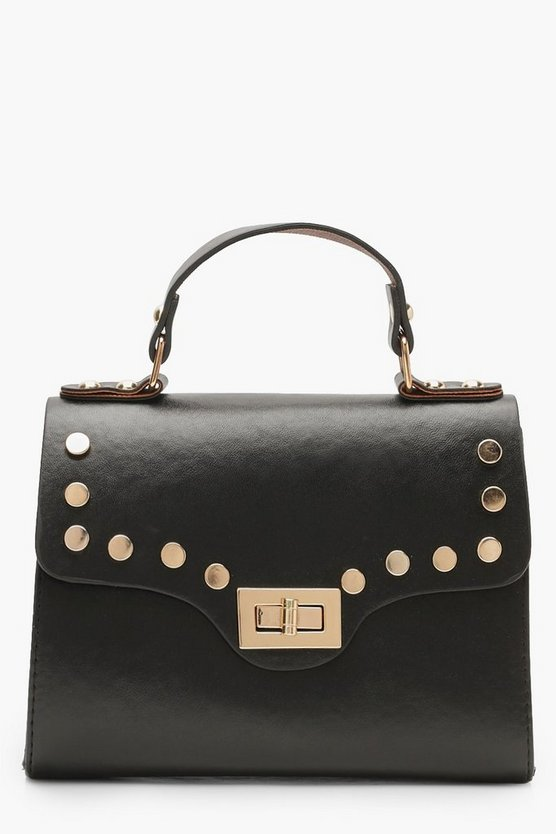 Black Stud & Lock Small Tote Bag