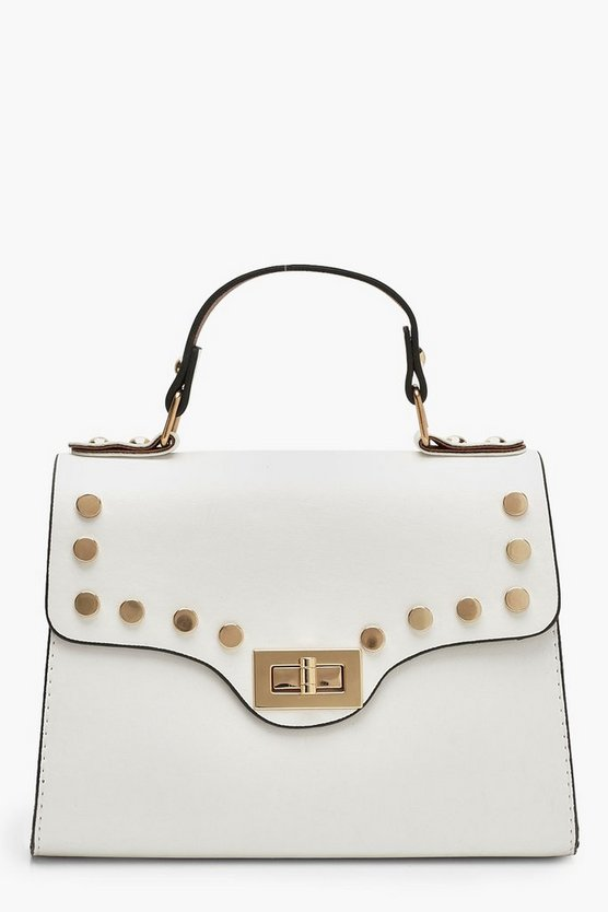 Womens White Stud & Lock Small Tote Bag