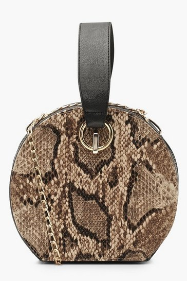 Womens Brown Faux Snake Handle Grab Bag