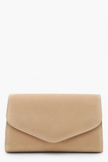 Womens Taupe Suedette Envelope Clutch Bag & Chain