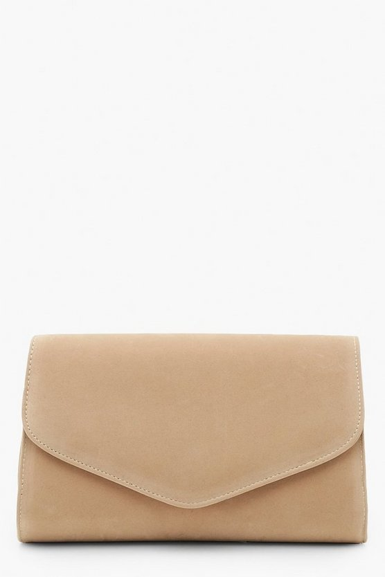 Suedette Envelope Clutch And Chain