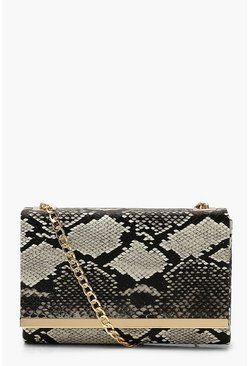 Black Faux Snake Structured Suedette Clutch Bag
