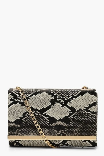 Womens Black Faux Snake Structured Suedette Clutch Bag