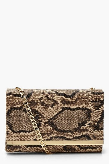 Womens Brown Faux Snake Structured Suedette Clutch Bag
