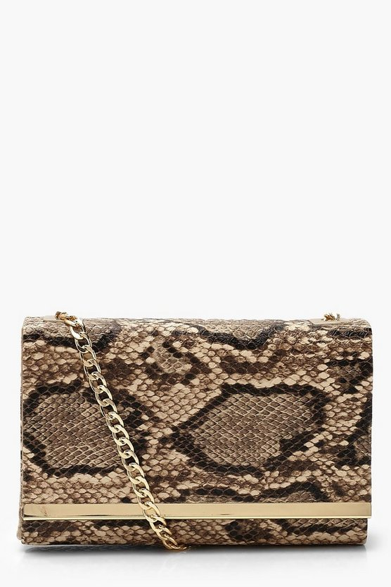 Faux Snake Structured Suedette Clutch Bag
