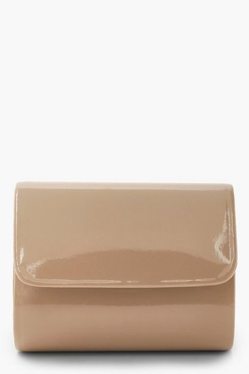 Womens Taupe Mini Structured Patent Clutch Bag & Chain