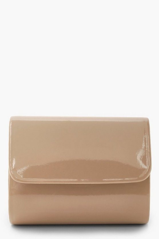 Womens Taupe Micro Mini Structured Patent Clutch And Chain