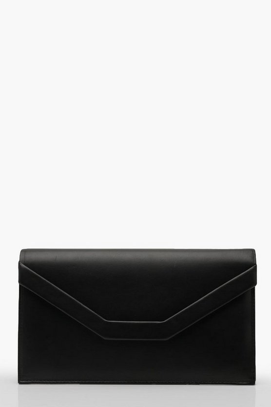 Womens Black Embossed Envelope Clutch And Chain
