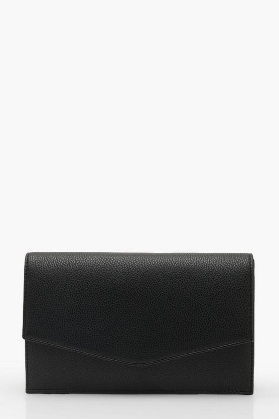 Womens Black Grainy PU Envelope Clutch And Chain