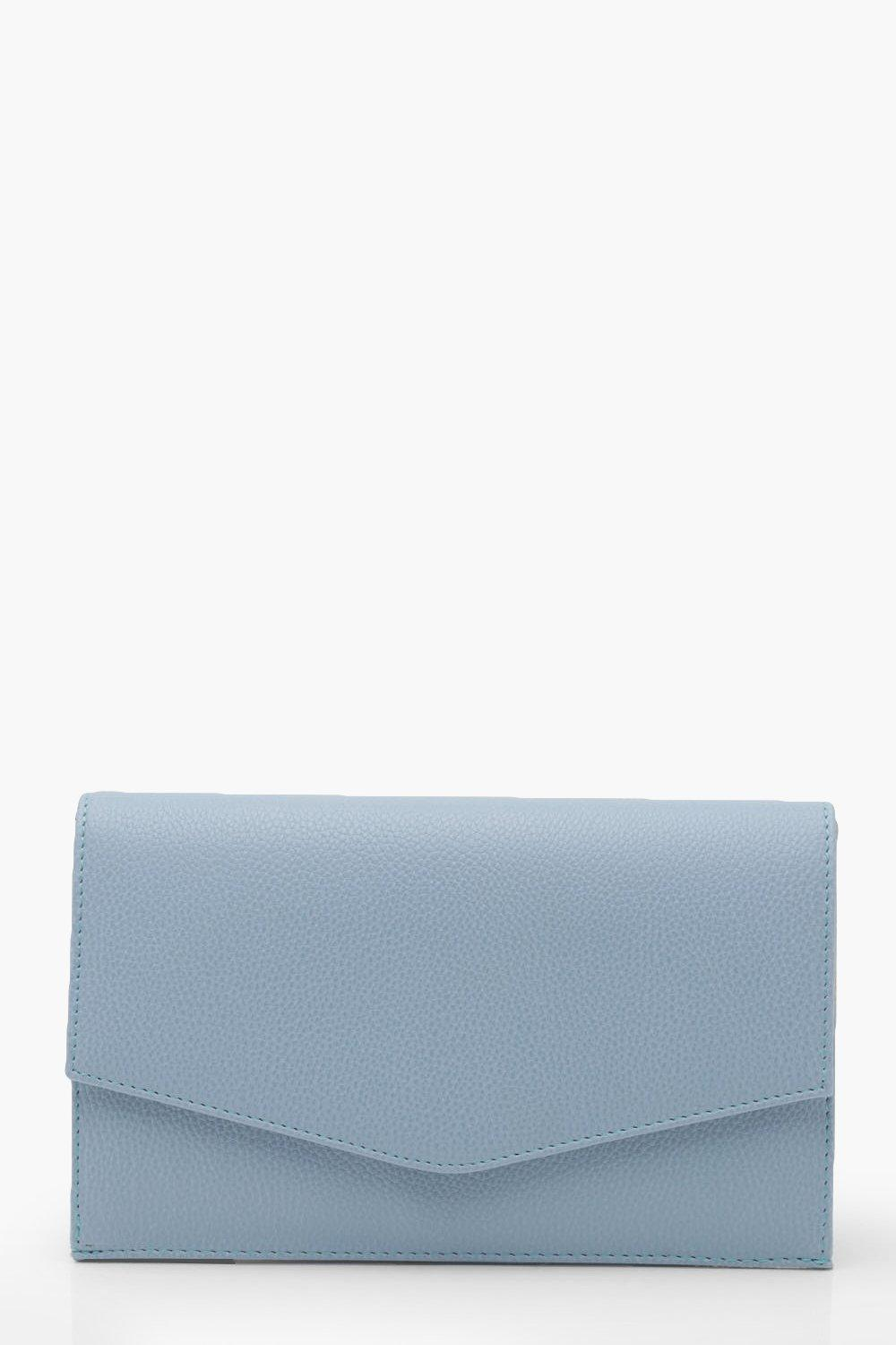 Grainy PU Envelope Clutch And Chain