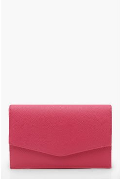 Womens Fushia Grainy PU Envelope Clutch Bag & Chain