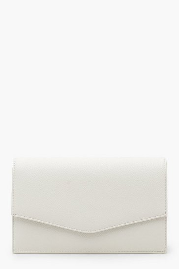 Womens White Grainy PU Envelope Clutch Bag & Chain