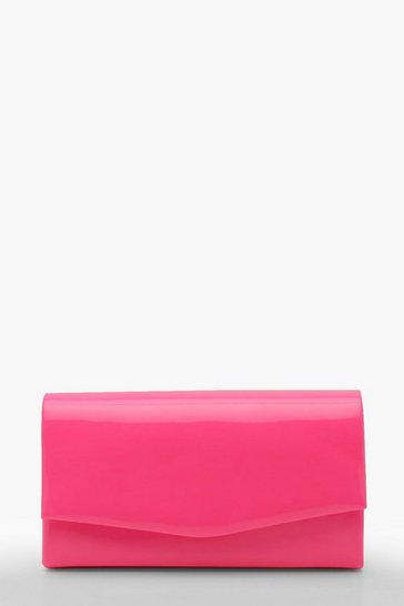 Womens Pink Structured Neon Clutch Bag & Chain