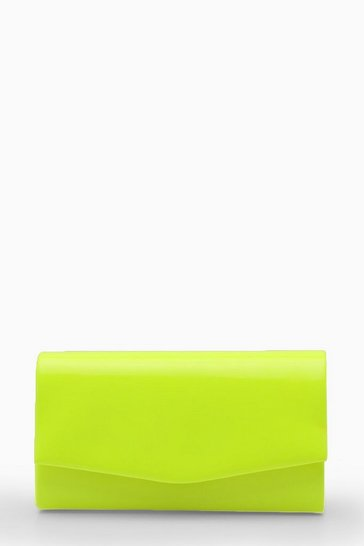 Womens Yellow Structured Neon Clutch Bag & Chain