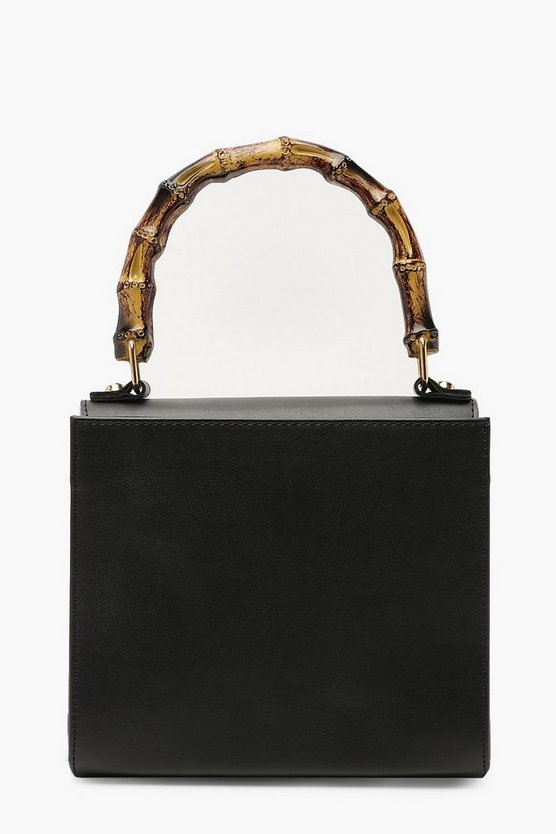 Womens Black PU Bamboo Handle Grab Bag