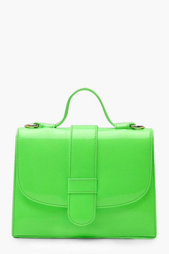 Womens Lime Neon Tab Small Tote Bag