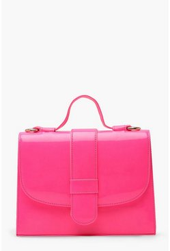 Womens Pink Neon Tab Small Tote Bag