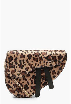 Womens Natural Leopard Wave Flap Saddle Cross Body Bag